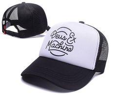 Men's / Women's Deus Ex Machina Throttle Trucker Mesh Back Adjustable Baseball Hat - Black / White