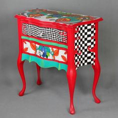Chest of drawers Queen of Hearts by ArtPoPo on Etsy: Whimsical Painted Furniture, Painted Chairs, Hand Painted Furniture, Funky Furniture, Colorful Furniture, Art Furniture, Upcycled Furniture, Unique Furniture, Shabby Chic Furniture
