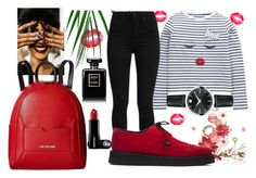 """""""Black and Red"""" by melli-ssa ❤ liked on Polyvore featuring Movado, DKNY, Love Moschino, Levi's, Chanel, StreetStyle, beautiful, girly and MyStyle"""