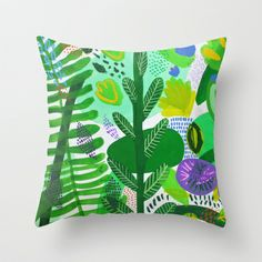 Between the branches. II Throw Pillow by Milanesa - $20.00 #green, #pillow, #spring, #homedecor