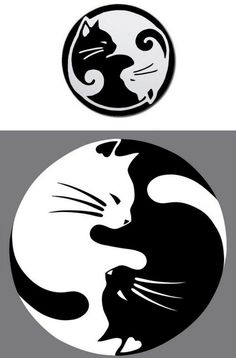 Yin Yang lucky cat tattoo - this would be nice with a watercolor wash instead of black CAT AND DOG YING YANG Yin Yang Tattoos, Tatuajes Yin Yang, Pisces Tattoos, Lucky Cat Tattoo, Tattoo Cat, Tiny Tattoo, Kitty Tattoos, Stone Art, Pyrography