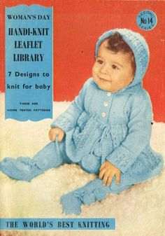 Womans Day 14 baby pram suit vintage knitting by Ellisadine, £1.00