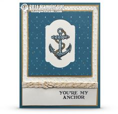 "CARD: You're My Anchor from Guy Greetings | Stampin Up Demonstrator - Tami White -——— S U P P L I E S ———  • Guy Greetings Photopolymer Stamp Set #137178 • Island Indigo 8-1/2 X 11 Card Stock #122923 • Delightful Dijon 8-1/2"" X 11"" Cardstock #138338 • Whisper White 8-1/2X11 Card Stock #100730 • Bohemian Designer Series Paper #138446 • Island Indigo Classic Stampin' Pad #126986 • Basic Black Archival Stampin Pad #140931 • 2015-2017 In Color Stampin' Write Markers #138333 • Stampin' Trimmer #1..."