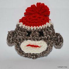 Free 3-D Sock Monkey Applique Crochet Pattern