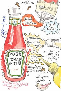 Why make your own ketchup, when you can buy it everywhere? Because this recipe is sugar free! Now, don't go thinking that it loses any flavour because of that. This sugar-free ketchup is just… Make Your Own Cookbook, Recipe Drawing, Sugar Free Ketchup, Watercolor Food, Food Journal, Recipe Journal, Food Drawing, Kitchen Art, Food Illustrations