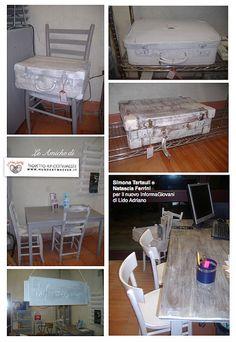 riuso creativo di vecchi oggetti e mobili per un arredo  molto chic..