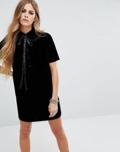 Motel Tie Neck Belia Tea Dress In Velvet