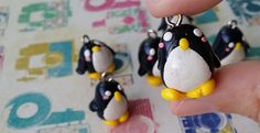 cute polymer clay miniature penguin charm by Kats13stuff on Etsy