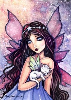 unicorn fairy unicorn fantasy myth mythical mystical legend dreamland fairy and little white cat fine art giclee print 9 x 12 molly harrison fantasy art illustration fandeluxe Images
