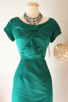 50s Dress // Vintage 50s Emerald Green Sexy by xtabayvintage
