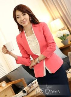 #Outwear #Blazer #Elegant #Beauty http://www.tbdress.com/product/Luxury-Slim-Long-Sleeves-One-Button-Red-Blazer-10900476.html