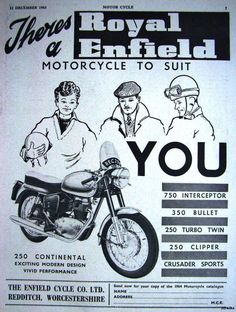 1963 ROYAL ENFIELD '250 Continental' Motor Cycle ADVERT - Vintage Print AD | eBay