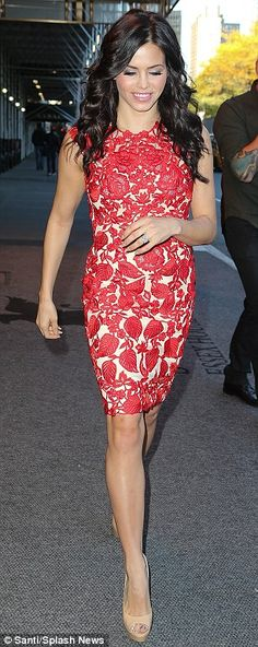 Always looking stunning, love this red lace dress