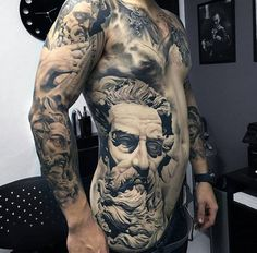 Magnificient Greek God Realism Tattoo Mens Torso And Sleeve