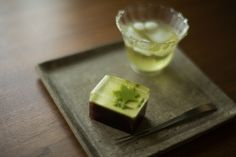Japanese cold green tea and sweets -Mizu yokan-
