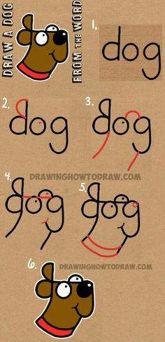 How to Draw a Dog from The Word Dog – Easy Step by Step Drawing Tutorial for Kids Cómo dibujar un perro de The Word Dog – Tutorial de dibujo fácil paso a paso para niños How To Draw Steps, Learn To Draw, How To Draw Kids, What To Draw Easy, How To Draw Art, Fun 2 Draw, Something Easy To Draw, Learning To Draw For Kids, Learn Art