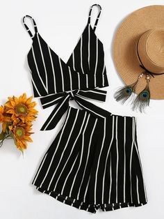 Two-piece Outfits by BORNTOWEAR. Stripe Surplice Bow Tie Open Back Crop Cami Top With Shorts