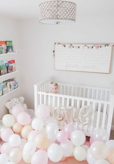 first birthday balloons crib baby clothes baby girl First Birthday Balloons, 1st Birthday Photoshoot, 1st Birthday Party For Girls, Girl Birthday Decorations, Girl Birthday Themes, Tea Party Birthday, Baby Birthday, Birthday Cakes, Birthday Ideas
