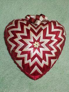 srdce bordovo-béžové 15 cm