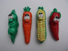 Set of four Veggie Magnets Polymer Clay by CarriZakCreations, $15.00