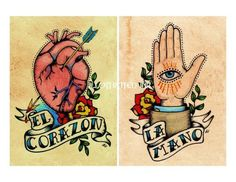 Old School Tattoo LA MANO and EL CORAZON Loteria by illustratedink