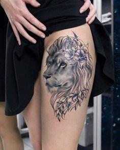 Fantastically portraied lion tattoo idea for the leg