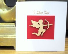 Valentines card - I Love you Card -  Cupid - Valentines - Valentines day - Valentines day card - for her, him,  boyfriend, husband, wife by FyneHandmadeCards on Etsy https://www.etsy.com/uk/listing/480150742/valentines-card-i-love-you-card-cupid