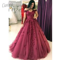 Lace Appliques Ball Gowns Tulle Quinceanera Dress Prom Dress Vestidos de 15 anos Sweet 16 Dress Tulle Skirt Long Teen Girls in Quinceanera Dresses from Weddings Events on Aliexpress com Evening Dress Long, Ball Gowns Evening, Ball Gowns Prom, Evening Dresses, A Line Prom Dresses, Cheap Prom Dresses, Long Dresses, Quinceanera Dresses Maroon, Poofy Prom Dresses