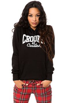Crooks and Castles Hoody Core Logo Black and White: Add this comfy and trendy logo hoody to your closet. Wear this with some Crooks leggings and sneakers for a super cozy outfit perfect for studying or a casual Friday at work. Fleece pullover hoody. Pouch pocket. Contrast print logo. Machine wash XS $70.00