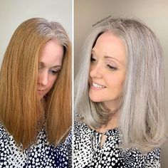 Stylist shows gorgeousness of grey hair instead of covering it up Short Grey Hair, Short Hair Cuts, Short Hair Styles, Blonde Grise, Grey Hair Transformation, Gray Hair Growing Out, Transition To Gray Hair, Silver Hair, Hair Highlights