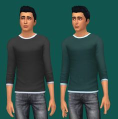 "glammoose:  "" ¾ Sleeve Get Together Shirt Recolor I recolored and removed just the striping on the arm for the first two, and recolored and removed the striping and collar/sleeve piping on the last..."