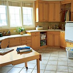 Interesting idea, a work area for kids to do homework and parents to do bills is placed in a large upper story laundry room to multitask away from the kitchen. From the This Old House site