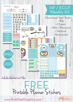 Free Printable Owl Planner Stickers. See more at www.pinkpixelgraphics.com {newsletter subscription required}