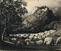 Ashmolean Advent Calendar Day 1 - Samuel Palmer (1805-1881) - The Flock and the Star - WA1940.64 © Ashmolean Museum http://www.ashmoleanprints.com/image/410938/samuel-palmer-the-flock-and-the-star