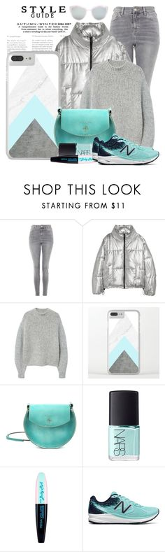 """OOTD: Silver Pudded Jacket"" by artbyjwp ❤ liked on Polyvore featuring Topshop, Jakke, MANGO, Old Trend, NARS Cosmetics, L'Oréal Paris and New Balance"
