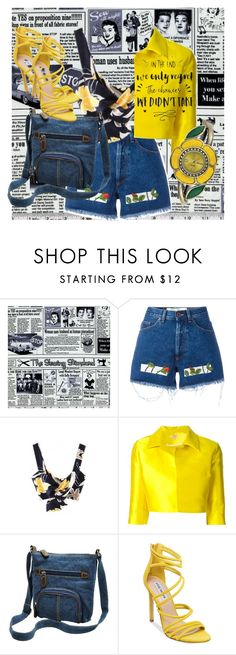 """""""Yellow and Denim"""" by anastasia121801 ❤ liked on Polyvore featuring Off-White, P.A.R.O.S.H., Steve Madden and Decree"""