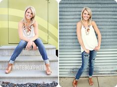 love the chunky necklace for photos.  Fort Mill High School Senior Portrait Photographer Sara Brennan-Harrell of Whitebox Photo photographs Class of 2013 Student Halle downtown Charlotte, NC for her senior portraits.