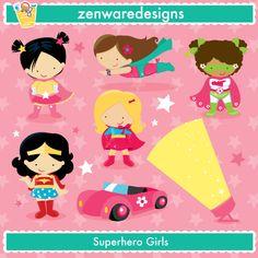 Super Hero Girl Set - MYGRAFICO DIGITALS: Clipart, Digital Paper, Stamp, Party Printables