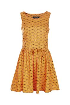 Retro Sleeveless Bikes Print Yellow Dress oh my this is so darling with some black or mustard tights oh how i adore this so much you HAVE NO IDEA!