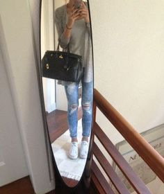 Ripped jeans, grey sweater, converse