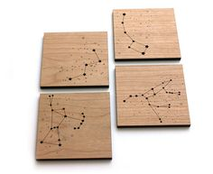 Wood Coasters - Star Constellations - set of 4 - night sky