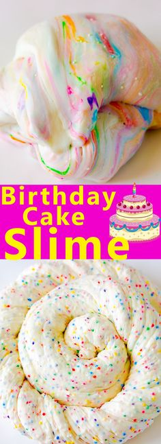 Edible marshmallow birthday cake slime