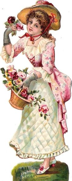 Oblaten Glanzbild scrap die cut chromo Lady Dame 17cm femme Blumen Korb basket
