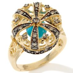 """Gem Designs by Palermo Champagne Diamond and Turquoise 14K """"Crown"""" Ring"""
