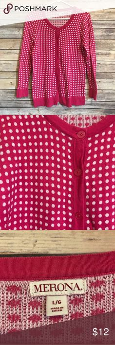 """Merona pink polka dot cardigan Great condition and cute polka dot cardigan! Stretchy material and soft! Measures 18"""" armpit to armpit and 25 length. Merona Sweaters Cardigans"""