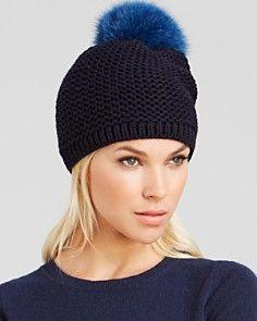 Kyi Kyi Fox Fur Pom-Pom Slouchy Knit Hat - Bloomingdale's Exclusive