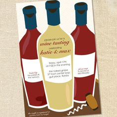 Wine Tasting Invitations for Couples Shower & Cocktail Parties by Sweet Wishes Stationery