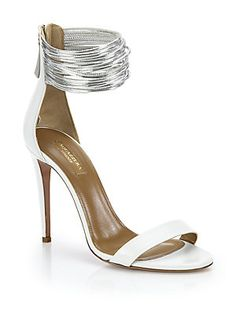 Aquazzura Spin Me Around Leather Ankle-Strap Sandals