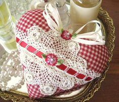 Heart Sachet VINTAGE Lace Red Ivory Check by CharlotteStyle, $12.00