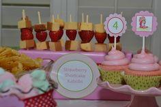Strawberry Shortcake Kabobs with pound cake!